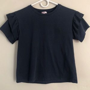 Me.n. U girls ruffle sleeve tee in navy size 12